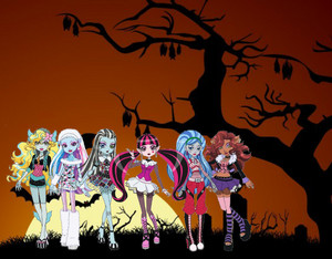 Frankie Stein, Draculaura, Clawdeen Wolf, Lagoona Blue, Ghoulia Yelps and Abbey Bominable