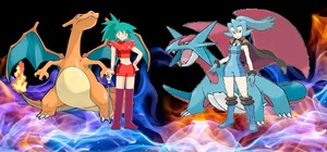 Liza with her Charizard meet up with her friend Clair and her Salamence