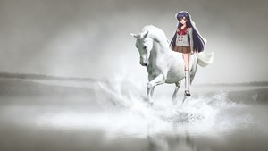 Rei Hino rides on her white stallion