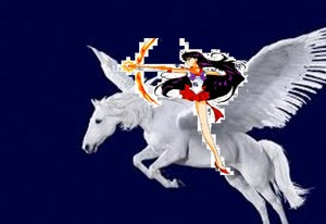 Sailor Mars uses her archery skills while riding her majestic pegasus