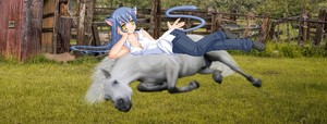 A Cute Sexy Catgirl resting on her Beautiful White Horse