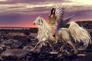 An Native American Girl riding across the Spirit World on her beautiful Pegasus
