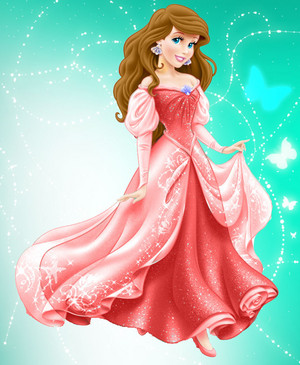 Princess Ariel in red dress and brown hair