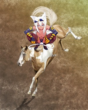 Cute Sexy Catgirl on an Palomino Paint Horse