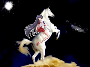 Sailor Mars riding on her white horse