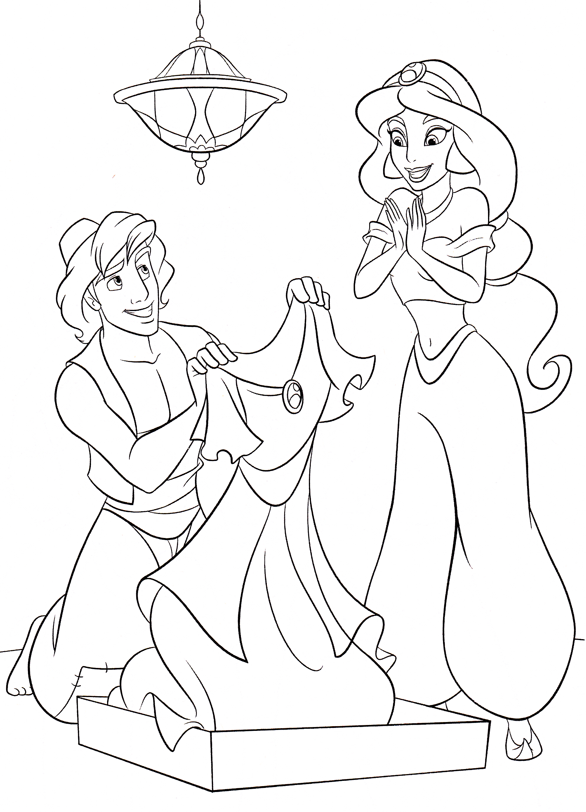 Walt Disney Coloring Pages - Prince Aladdin & Princess ...  Coloring Pages Of Jasmine And Aladdin