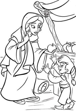 Walt ディズニー Coloring Pages - Princess ジャスミン