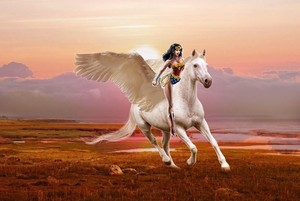 Wonder Woman riding on her beautiful trusty pegasus steed