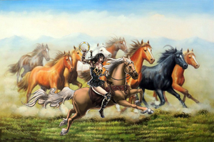 Xena riding Argo towards a herd of wild farasi