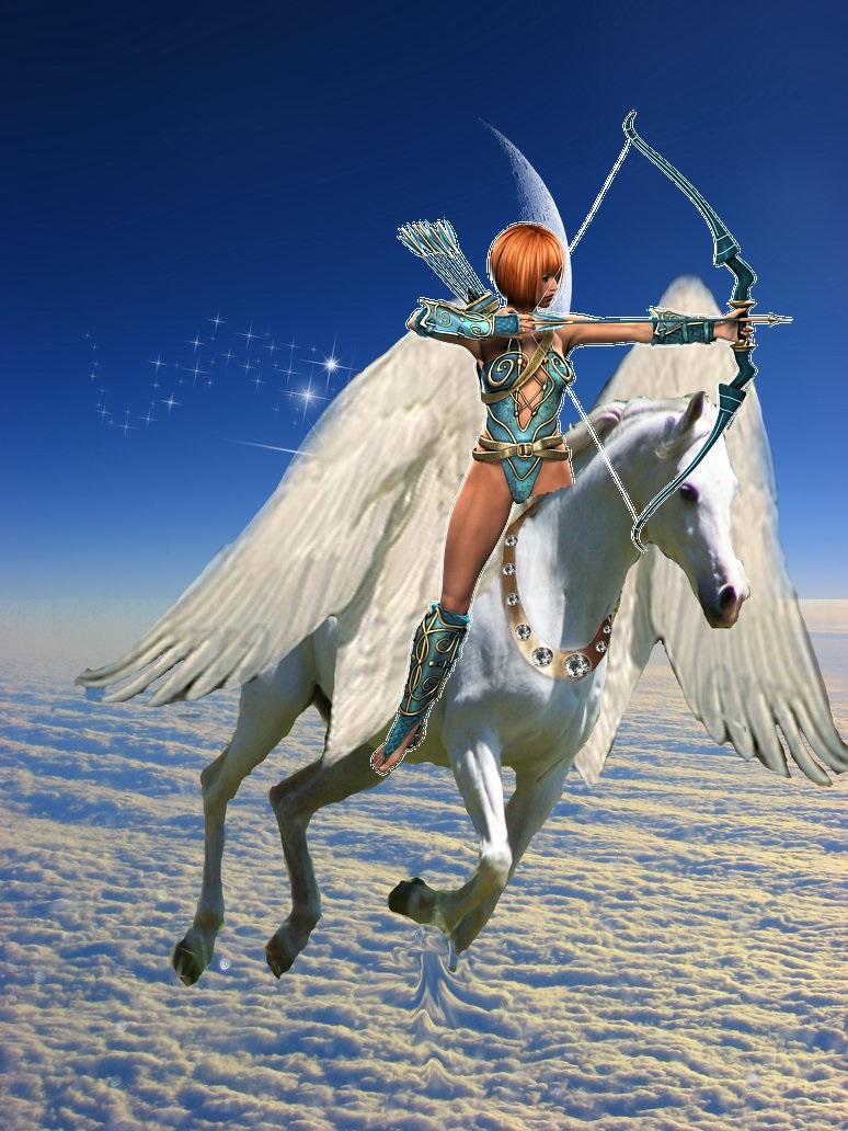 Amazon Warriors Fotos amazon warrior woman riding on an beautiful pegasus - amazon