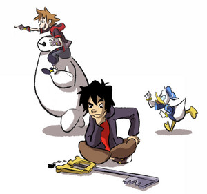 Hiro, Baymax, Sora and Donald