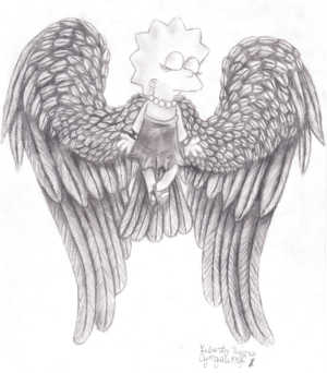 Lisa Simpson Angel: Black and white detailed image