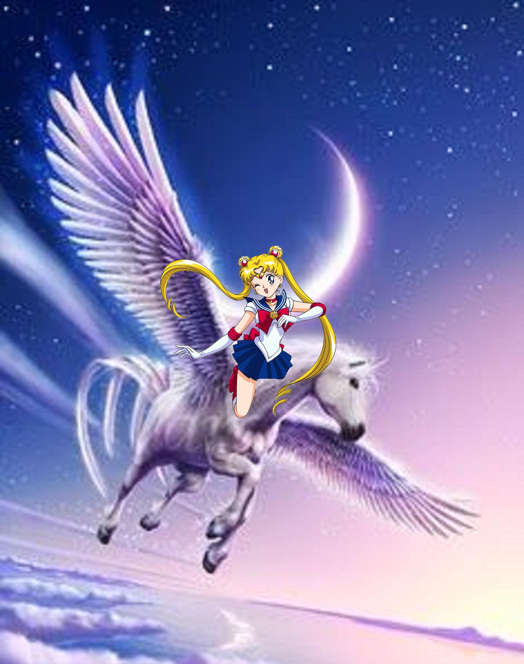 Sailor Moon Rides On Her Beautiful Pegasus Sailor Moon Fan Art