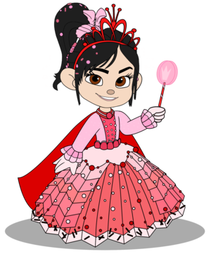 Vanellope in a Princess gaun with her Crown (Still President)