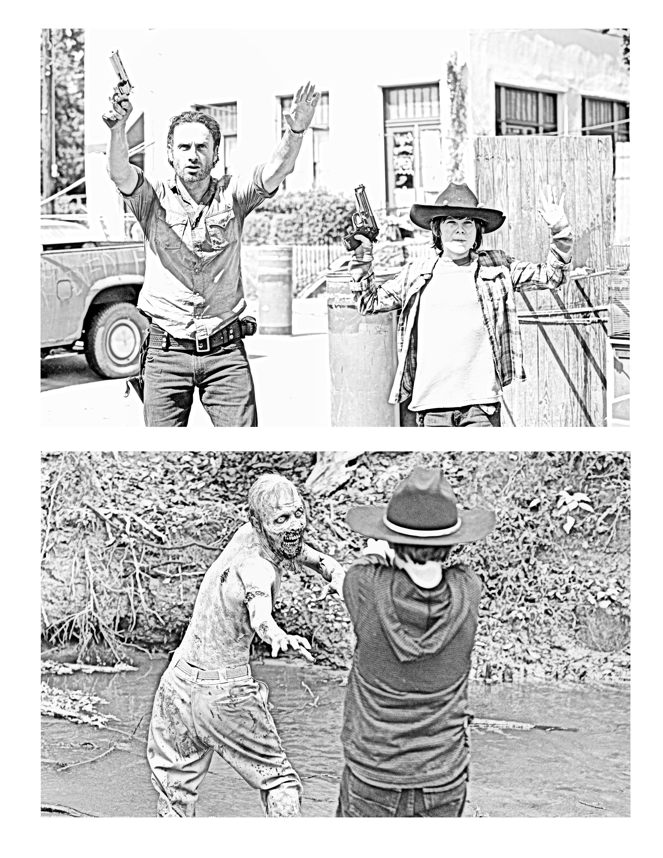 The Walking Dead Coloring Pages Rick And Carl Os Mortos