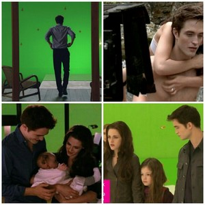 Edward, Bella and Renesmee (behind the scenes with Robert, Kristen and MacKenzie)