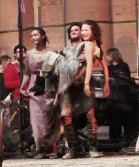 Kit and Emily on the set of Pompeii / 2014
