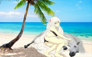 Black Hanekawa with her Beautiful White Stallion