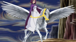 Henrietta riding on her Beautiful Pegasus
