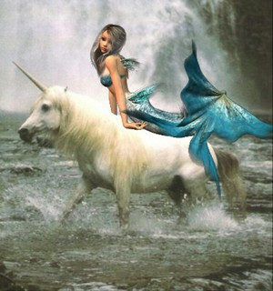 Pretty cute mermaid riding an beautiful unicorn