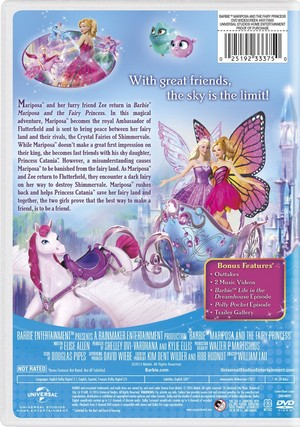 Barbie: Mariposa and The Fairy Princess 2016 DVD with New Artwork
