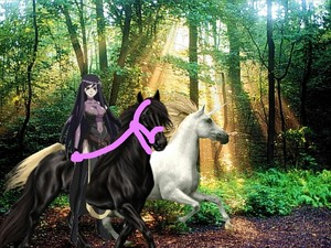 Sheffield riding her Black coursier, steed to chase down and capture an Beautiful White Unicorn
