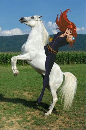 Black Widow rides on her Trusty Beautiful White Stallion