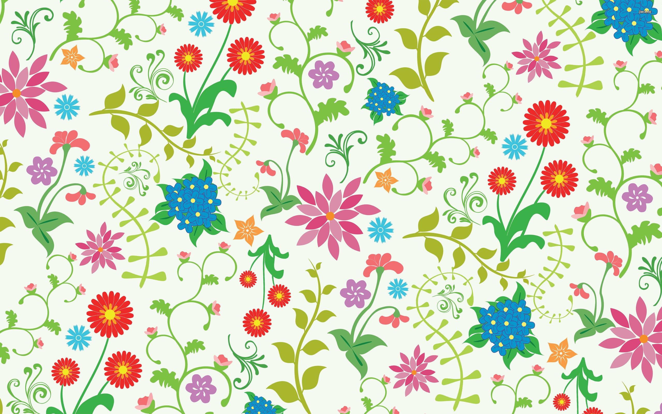 Colourful Floral Pattern My Fanpop Friends And I Wallpaper