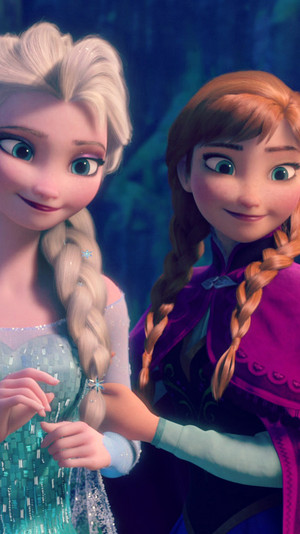 Frozen Anna and Elsa phone پیپر وال