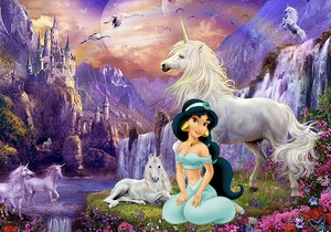 Princess Jasmine with Unicorns