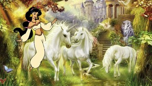 Princess Jasmine with her Unicorns