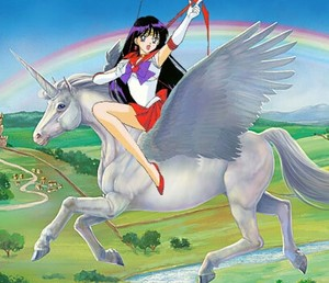 Sailor Mars riding her White Winged Unicorn ঘোড়া