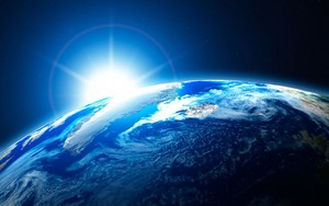 Blue light touching earth