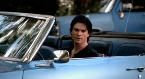 Damon in his car