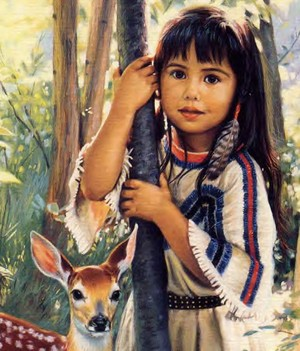 Native American Girl standing in trees with deer