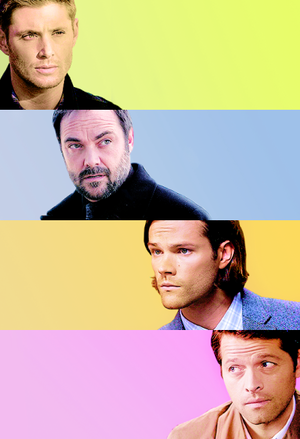 Sam, Dean, Castiel and Crowley