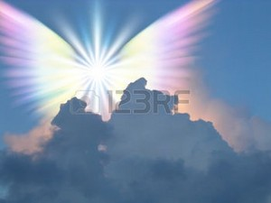 Angel wings shining in the sky