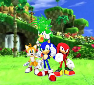 Sonic Tails Knuckles and his brother Manic Green collina Zone