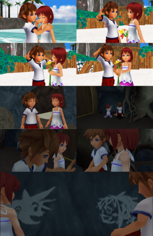 Kingdom Hearts Sora and Kairi in Beginning