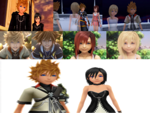 Sora and Kairi (Roxas and Namine) Ventus and Xion .