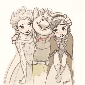 Anna and Elsa with a Troll