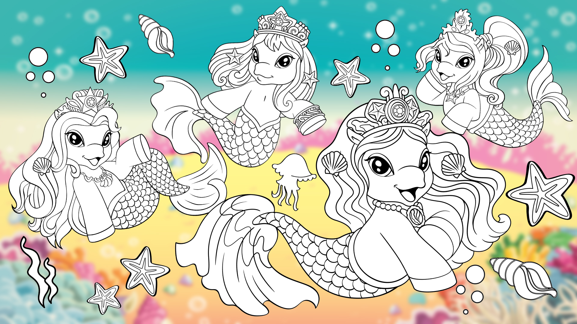 filly mermaids coloring activity dracco toys  my filly