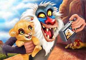Rafiki snaping a picture of him and Baby Simba