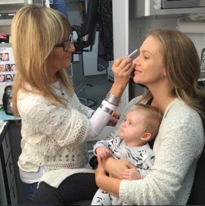 Actress A.J. Cook and son, Phoenix Sky Andersen on set of Criminal Minds.