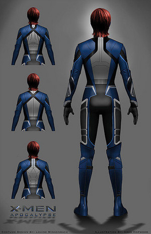 Back-view of Mystique superhero costume - Concept Art