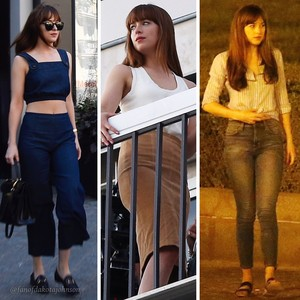 "Dakota's ""Ana Grey"" style from set of Fifty Shades Freed"