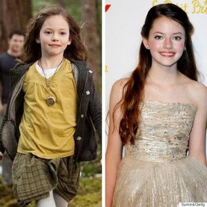 Renesmee (Mackenzie Foy) then and now