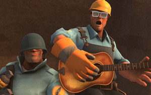 team fortress 2 kertas dinding soldier and engineer