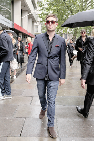 Ed Westwick attends the London Collections Men Zeigen in London | June 13, 2016