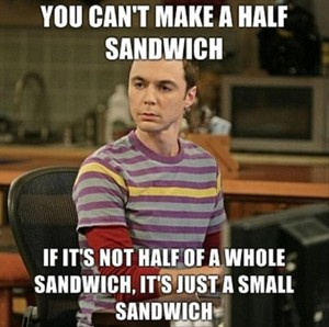 Funny Big Bang Theory Pictures Half a sandwich Sheldon Cooper